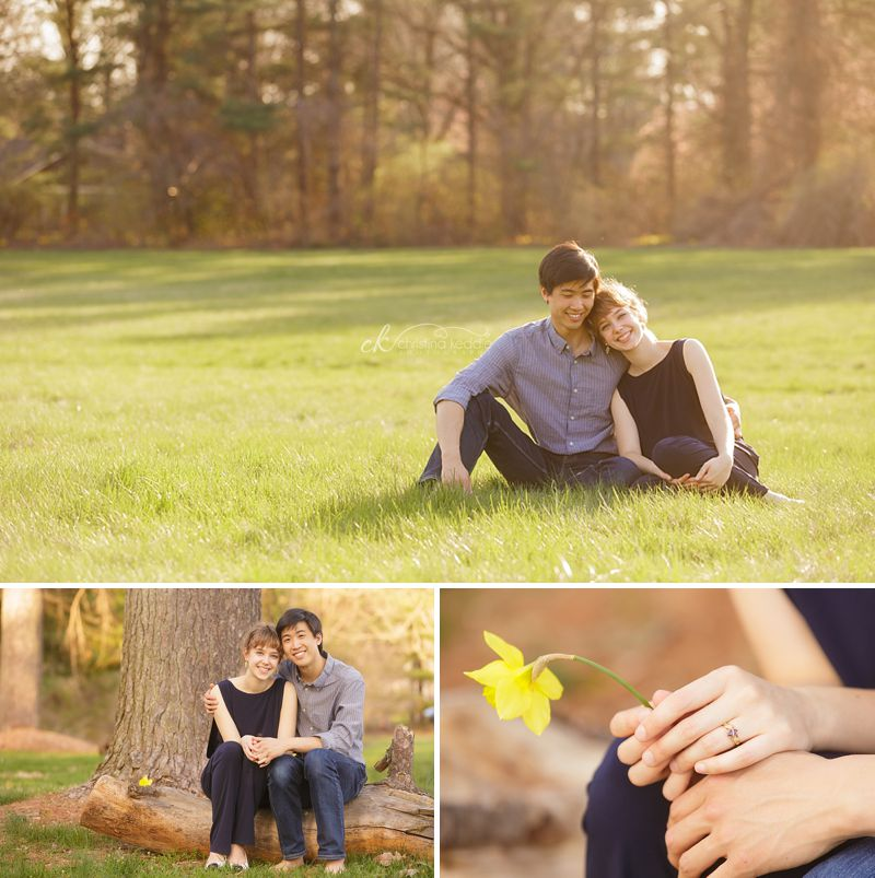 Springtime engagement portrait in field | Christina Keddie Photography | Princeton NJ engagement photographer