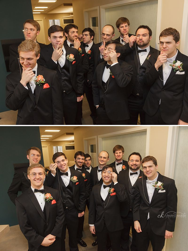 Groom and groomsmen with monocles | Christina Keddie Photography | Princeton NJ wedding photographer