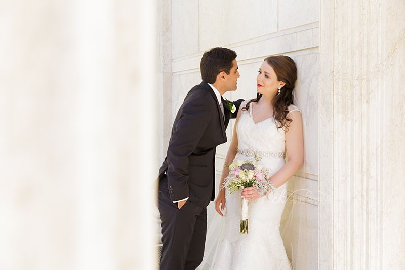 Bride and groom private moment in white columns | Christina Keddie Photography | Princeton NJ wedding photographer