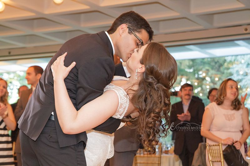 Bride and groom first dance dip and kiss | Christina Keddie Photography | Princeton NJ wedding photographer