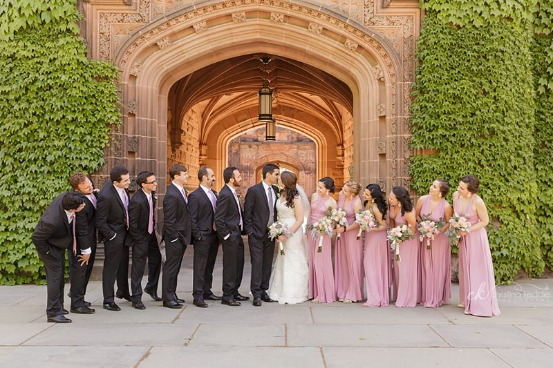 Bridal party group formal against ivy-covered arches | Christina Keddie Photography | Princeton NJ wedding photographer