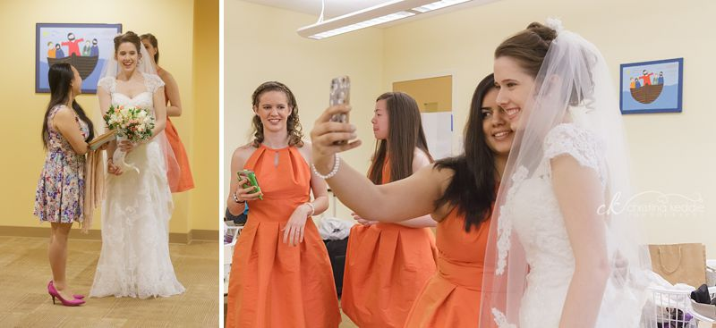 Bridal prep and selfie with bridesmaids | Christina Keddie Photography | Princeton NJ wedding photographer