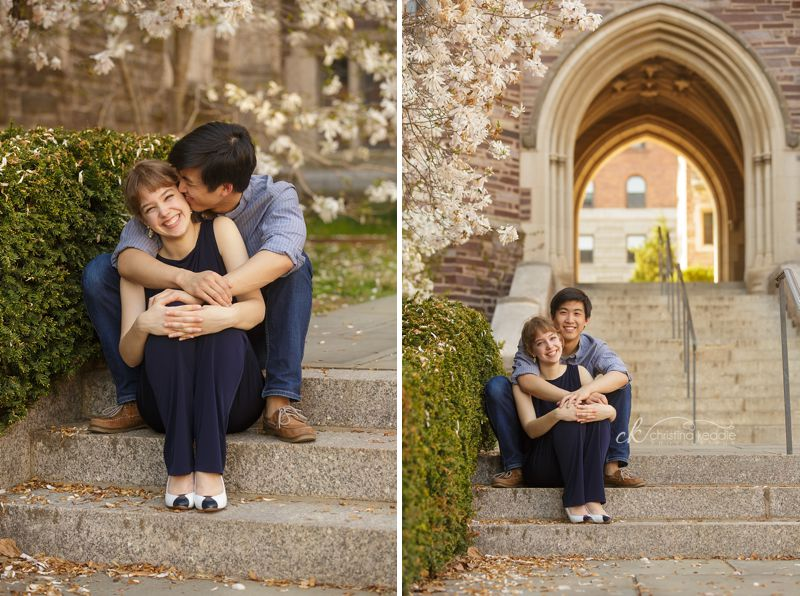Princeton University campus engagement portrait archway and stairs | Christina Keddie Photography | Princeton NJ engagement photographer