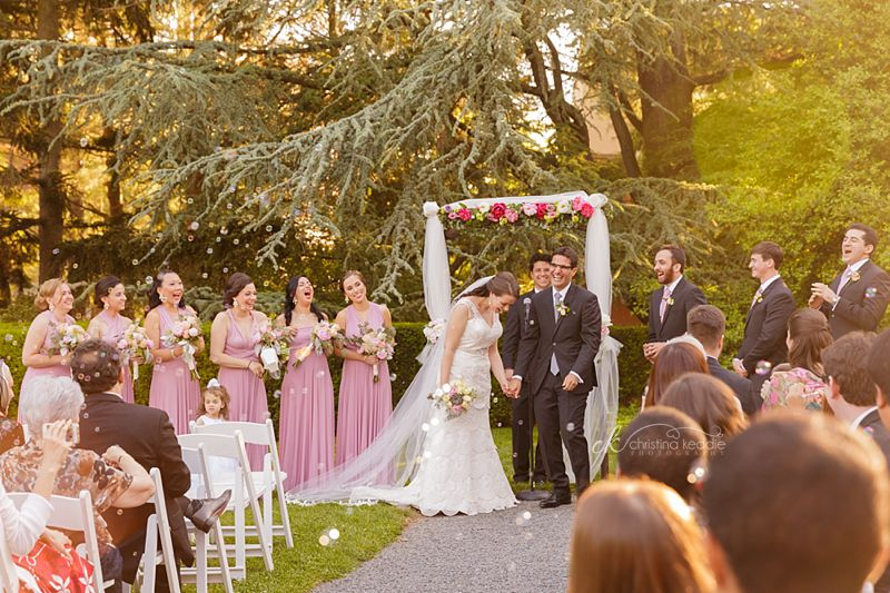 Wedding ceremony candid of laughing bridal party | Christina Keddie Photography | Princeton NJ wedding photographer