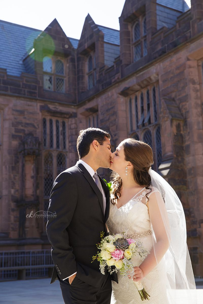 Bride and groom kissing in gothic architecture setting | Christina Keddie Photography | Princeton NJ wedding photographer