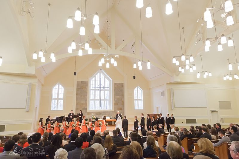 Large bridal party in church sanctuary ceremony | Christina Keddie Photography | Princeton NJ wedding photographer