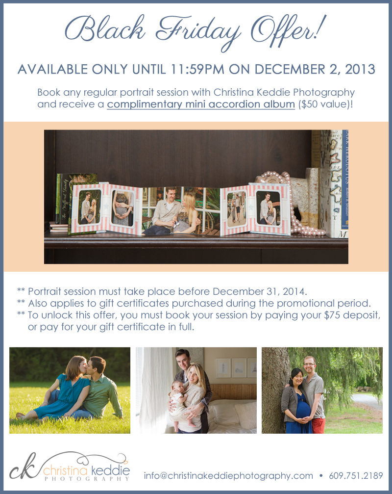 Black Friday Cyber Monday offer | Christina Keddie Photography | Princeton NJ portrait photographer
